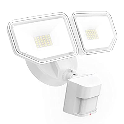 Freelicht 40W LED Security Lights with Motion Sensor Outdoor, 4000Lm Exterior Flood Light with 2 Adjustable Heads, 5000K Daylight, IP65 Waterproof for Garage,Yard,Entryways - White