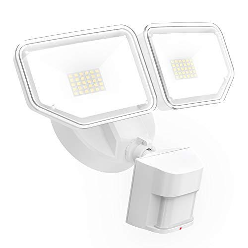 FREELICHT 40W LED Security Lights with Motion Sensor Outdoor, 4000Lm Exterior Flood Light with 2 Adjustable Heads, 5000K Daylight, IP65 Waterproof for Garage,Yard,Entryways, White
