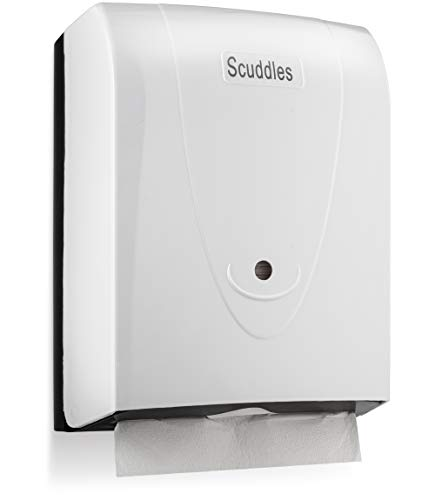 Scuddles Paper Towels Dispenser Wall Mount - for Office Bathroom Kitchen & Restaurant Disposable Hand Towels Wall Hanging, Holds 500 Multi fold Paper by Scuddles, White