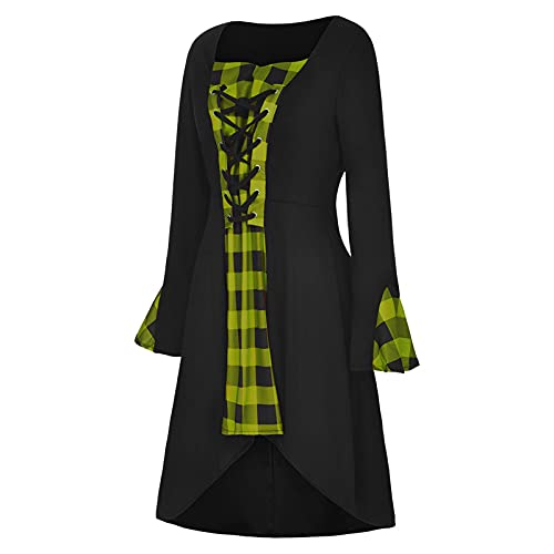 Vestido largo de encaje medieval con diseño de calavera, manga larga, estilo gótico para mujer, elegante, para bodas, fiestas, fiestas rockabilly, Halloween, cosplay, amarillo, M-36/38/40