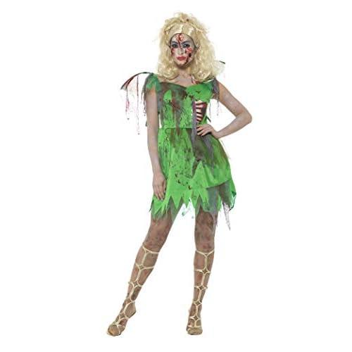 SMIFFYS Costume fatina zombie, Verde, con vestito, costole e ali in lattice