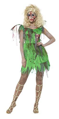 Smiffys Damen Zombie Elfen Kostüm, Kleid mit angebrachten Latex Rippen und Flügeln, Größe: 44-46, 46860