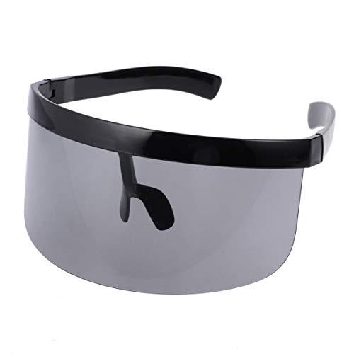 Vorcool Oversize Sonnenbrille Futuristic Shield Flat Top Mirrored Unisex Windschutz Sonnenschutz für Männer Frauen Outdoor Sport (schwarz)