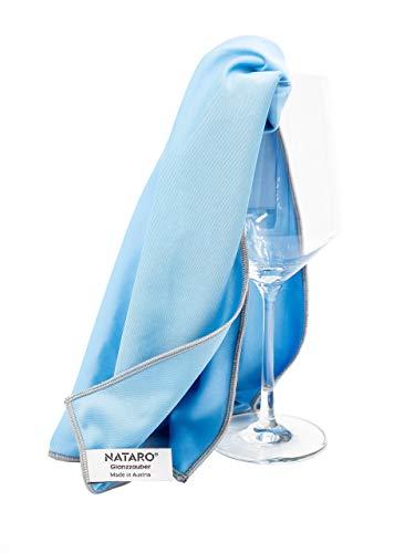 NATARO® Glanzzauber Microfaser Glaspoliertuch – Made in Austria – Fusselfreies Mikrofaser Premium Poliertuch für Glas und Hochglanzoberflächen (ca. 48x68cm, blau) (1er Pack)