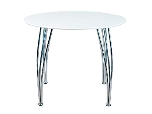 Inter Link Esstisch Küchentisch Esszimmertisch Tisch Rund MDF Weiss matt