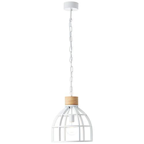 BRILLIANT lamp Matrix Wood hanglamp 34cm hout licht/wit glanzend |1x A60, E27, 60W, geschikt voor standaardlampen (niet inbegrepen) |Schaal A ++ tot E |Ketting kan worden ingekort