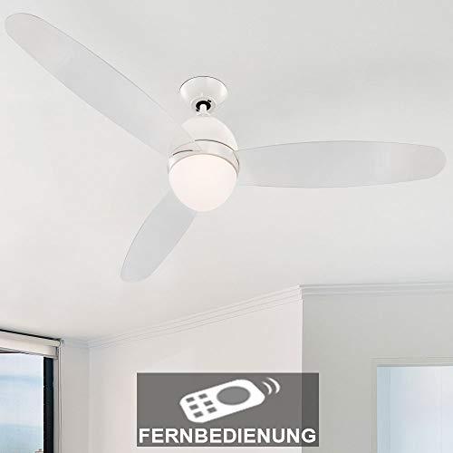 Deckenventilator mit Beleuchtung und Fernbedienung im Set inklusive 14 Watt LED Leuchtmittel*