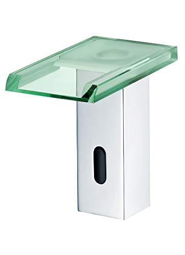 Sanlingo - Infrarot-Sensorarmatur, Temperaturregler, Batteriebetrieb, Wasserfall, LED-Beleuchtung, Chrom-Glas