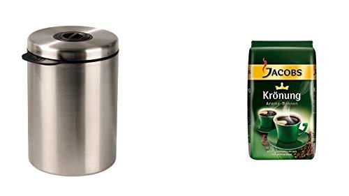 James Premium® liefert Jacobs Krönung Aroma-Bohnen 500g + Xavax Kaffeedose für 1kg Kaffeebohnen, Tee, Kakao, mit Aromaverschluss, Edelstahldose, silber