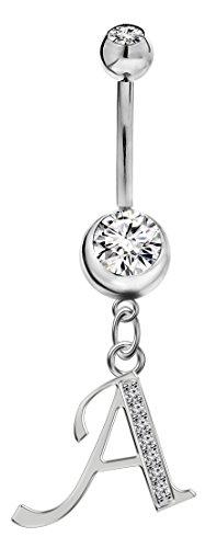 BlingBling GlitZ silbernem Überzug Bauchnabelpiercing für Damen mit Zirkonia KristallenA Chirurgische Stahl 10mm