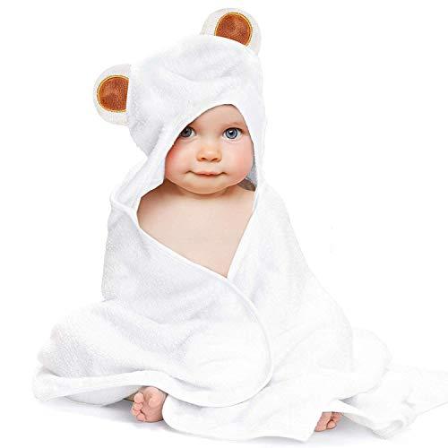 LATTCURE Toalla de Baño Bebé con Capucha de Fibra de Bambú 90x90cm 500GSM Ducha Albornoz Infantil Baño Niño Chico Lindo para Recién Nacido Nacimiento Cabo de Baño (Panda)