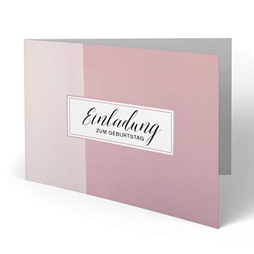 (20 x) Einladungskarten zum Geburtstag Einladung Rosa Karte runder Geburtstag mit Bild