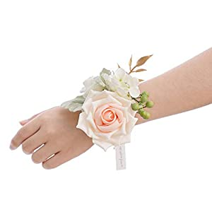 Ling's moment Blush Artificial Flowers Bridesmaid Wrist Corsage Bracelet, Set of 6, for French Rustic Vintage Wedding, Bridal Shower Party, Wedding Ceremony Anniversary, Corsage Ribbon Prom