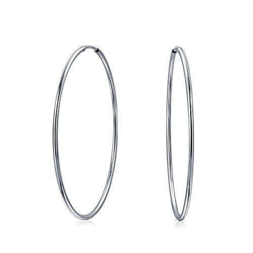Delgado simple minimalista redondo en forma de tubo continuo aro pendientes para mujeres adolescentes .925 plata de ley 1.75 pulgadas de diámetro