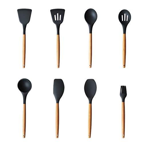Huit pièces de cuillère à Pelle Silicone Manche en Bois Haute température Anti-brûlure Brosse suspendable Ustensiles de Cuisine Cuisine à la Maison Cuisson Cuisson Pan antiadhésif MUMUJIN