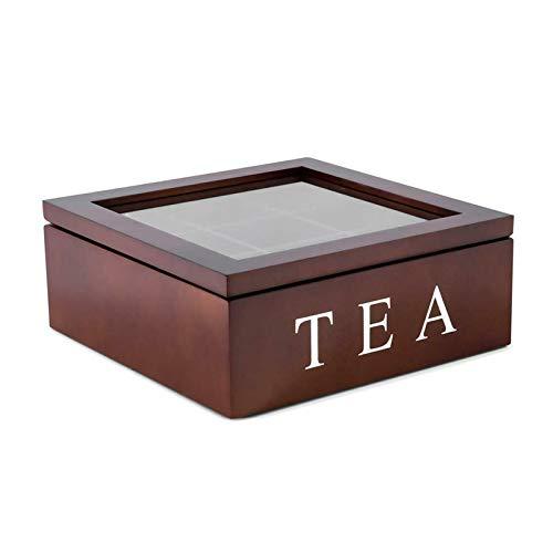 Trafagala Teebox aus Holz Luxeriöse Tee Aufbewahrung Box Holz, Teekiste mit 9 Fächern für die Teebeutel Aufbewahrung – praktische Box mit Sichtfenster im Deckel(braun)