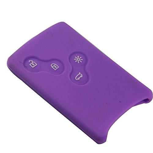 WaWeiY 4 Botones De Goma De Silicona Car-Styling Caso De La Cubierta del Protector De Clave For Renault Clio Logan Megane 2 3 Tarjeta Escénica Koleos (Color : Purple)