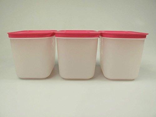 TUPPERWARE Gefrier-Behälter (3) 1,1 L weiß-pink Gefrier Eis-Kristall Eiskristall