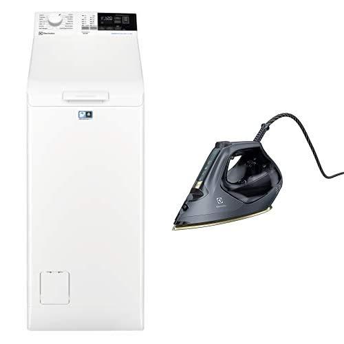 Electrolux EW6T462I Lavatrici a Carica dall Alto, 6 Kg, 51 dB, Bianco + Ferro da Stiro a Vapore Renew 800, 2700 W, 0.37 Litri, Acciaio