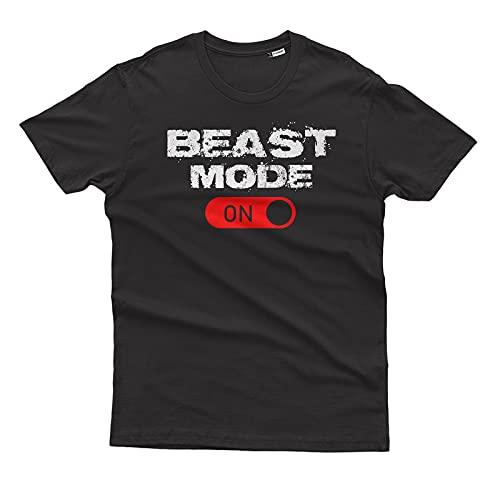 ThePhoenixDesign T-Shirt Beast Mode On Muscoli Palestra Fitness Allenamento Workout - 100% Cotone Organico OCS - 011 - Nera, XL
