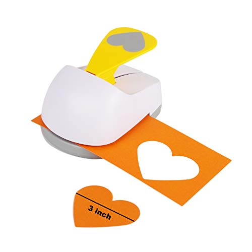 Craft Lever Punch 3 inch Heart Punch DIY Handmade Paper Punch (White 3inch Heart)