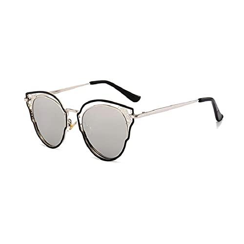 Secuos Gafas De Sol Redondas Retro para Mujer Gafas De Ojo De Gato Diseñador De La Marca Marco De Metal Redondo Espejo Rosa Vintage Gafas De Sol para Mujer Uv400 Astilla