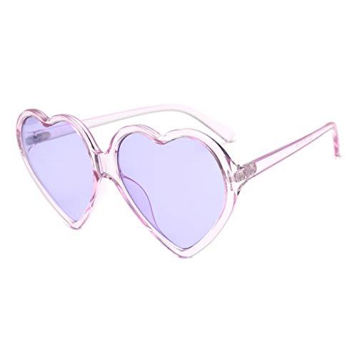 Gesh 90S - Gafas de sol vintage para mujer, diseño de corazón, color morado