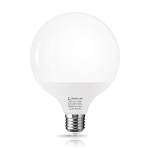 LOHAS 20W LED Lampe, E27 LED Lamp, G120 LED Brine, Warmweiß, Ersetzt 120-140W Glühbirnen, 1800 Lumens, 3000K, LED Globus, Nicht Dimmbar, 240 Grad Abstrahlwinkel, 230V, 1er Pack