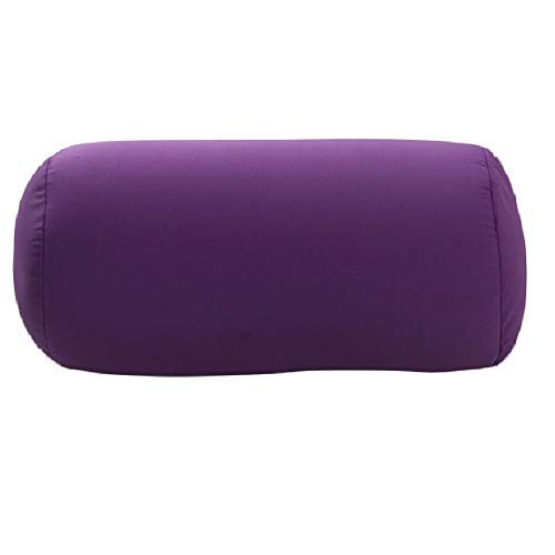 DAYNECETY Micro Bead Roll Pillow Cushion Bolster Microbead Lumbar Support Squishy Pillow Neck Back Support Cushions for Travel Sleeping Bath Bed Massage Yoga Foot- Leg-Rests (Purple)