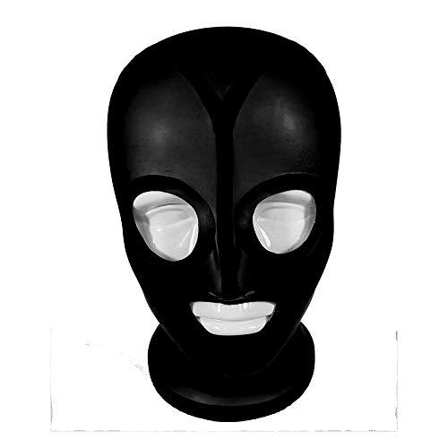 Máscaras de látex con goma de látex sexy unisex Gummi 0.4mm con forro anti-clip de mascarilla para el pelo traje de fiesta único,XXS 55CM