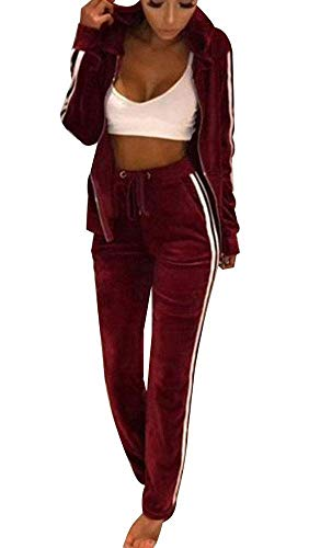 TOP-MAX Women's Velour Stripe Jogging Zipped Hoodie, Fashion Sport Suit, Hoodie and Pants Sports Suits Tracksuits