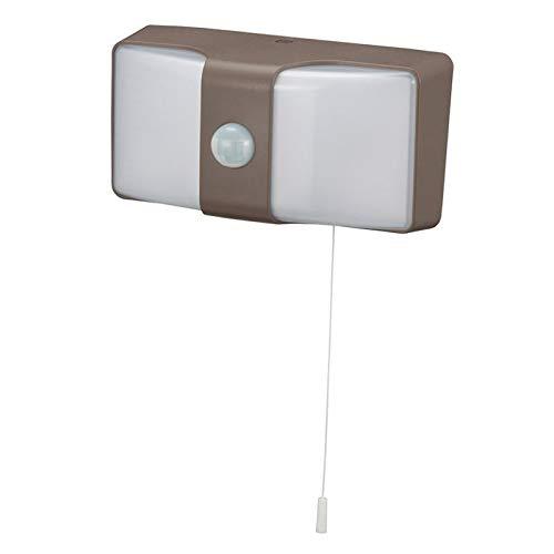 玄関・庭先・駐車場などを明るく照らします。 OHM monban LEDセンサーウォールライト コンセント式 ブラウン LS-AH26J4-T 〈簡易梱包