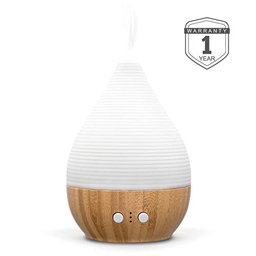 Bre Essential Oil Diffuser 180ML handmade CeramicampBamboo Aromatherapy Humidifier with adjustable mist modeampnight light waterless auto shutoff and timing set silent fan ZEIGGA LAB