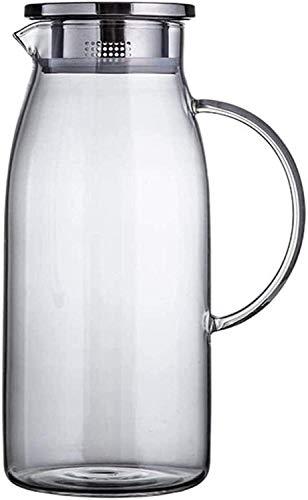 Resistente al calor Tetera litro de jarra con tapa de jarra con inserto - 100% BPA libre de borosilicato libre de borosilicato Lanzador de vidrio frío frío agua helada té helado té y jugo bebida taza
