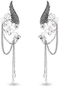 1 par de pendientes de clip hechos a mano, de elfo, cuentas de perlas de filigrana, hoja, elfo, cosplay, fantasía, artesanía, joyería de boda para mujer (plata)