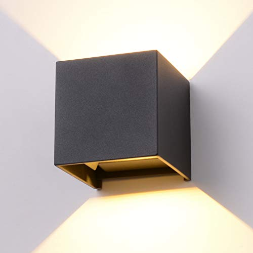 Midore Lámpara de pared interior exterior 12 W LED COB lámpara de pared Up Down ajustable haz de luz IP65 Moderno aluminio iluminación de pared para pasillos/balcones/salón 3000 K