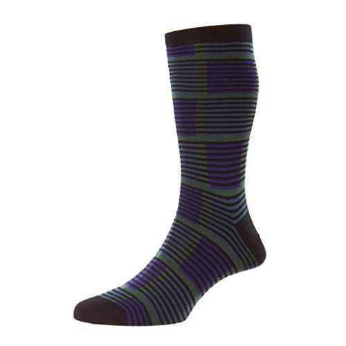 Pantherella Mid-Calf Linden Grid Muster Baumwolle Herren Kleid Socken, navy, Large
