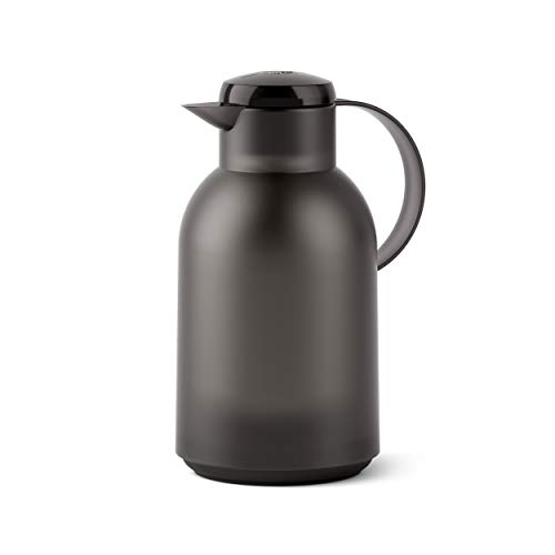 Emsa SAMBA Isolierkanne Quick Press, Kanne, Teekanne, Kaffeekanne, Kaffee, Kunststoff, Transparent-Schwarz, 1.5 L, N4011900