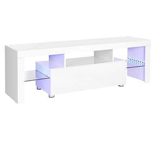 VASAGLE Fernsehtisch für Fernseher bis 60 Zoll, großer TV-Schrank, Fernsehschrank, TV-Regal mit LED-Beleuchtung, Lowboard, Wohnzimmer, 140 x 35 x 45 cm, modern, glänzend, weiß LTV14WT