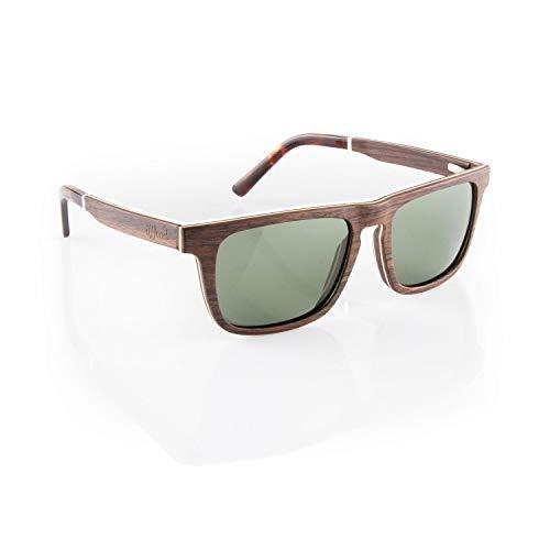 Iwood Sonnenbrille aus Holz/Echtholz/Echtholzbrille/Holzbrille - Modell 07 Buchenholz mit Olive - für Damen und Herren - UV400 mit Polarisationsfilter - Brillenmanufaktur aus Deutschland