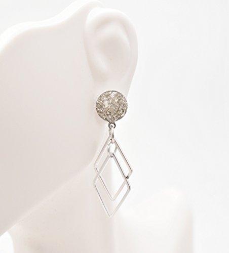 Handmade Silver Crushed Glass Diamond Dangle Earrings