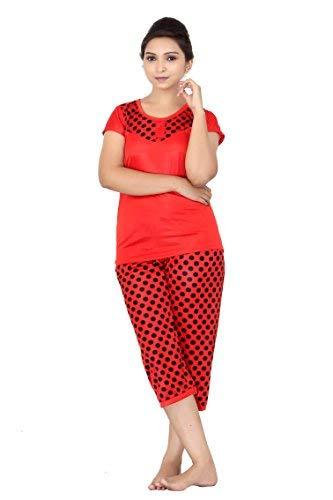 Fabme Women's Polka Dots Satin Night Suit (Top and Pyjama)...