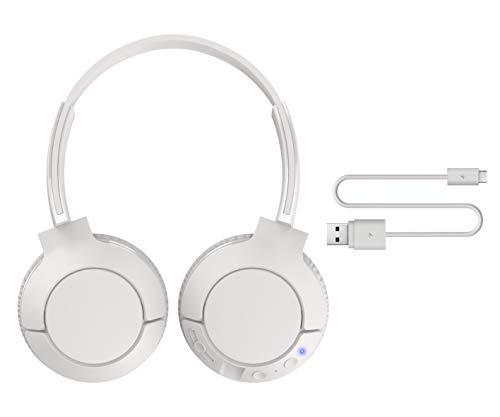 TCL MTRO200BT Wireless On-Ear Kopfhörer mit Mikrofon (Bluetooth 4.2, geräuschisolierend, faltbar, Leder-Ohrpolster, integrierte Fernbedienung und Mikrofon, 20 Stunden Spielzeit), Ash White