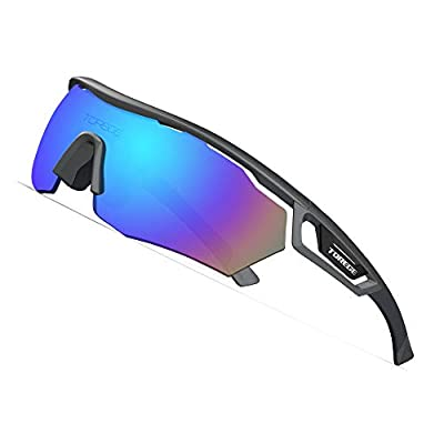 TOREGE Polarized Sports Sunglasses with 3 Interchangeable Lenes for Men Women Cycling Running Driving Fishing Golf Baseball Glasses TR05 (Gray Frame&Blue Lens)
