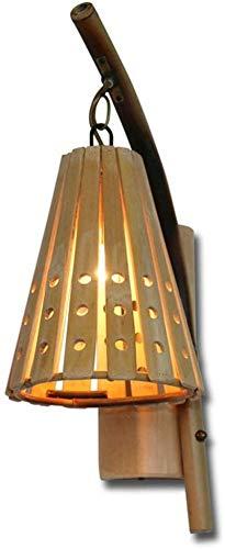 Aplique de pared industrial LED, Bambú Simple Wall Washer Sconence Vintage de madera Lámpara de pared de madera para interiores Iluminación de pared Luz de pared Emxture E27 Edison Iluminación para la