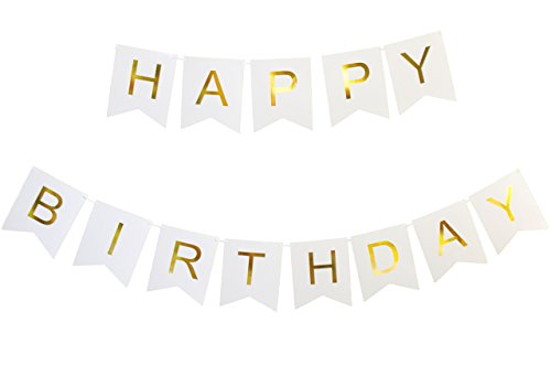 KEIRA PRINCE CRAFTS Happy Birthday Banner, White and Gold . Chic, Durable & Versatile, time saving pre-strung birthday decorations.