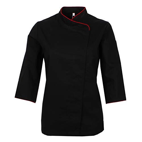 MISEMIYA - Chaquetas Uniformes Chef COCINERA Bar Restaurante HOSTELERÍA Mangas LARGAS - Ref.703 - Medium, Negro