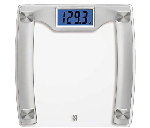Weight Watchers Digital Glass Scale, 400 Pounds/182 Kilograms Capacity, High Contrast, Tempered Safety Glass, Silver and Stainless Steel