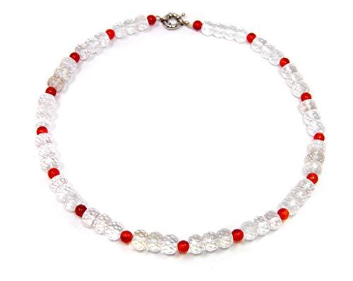 Halsschmuck Kette Collier Edelsteinkette aus Bergkristall in facettierter Radform & rotem Achat Kugelform
