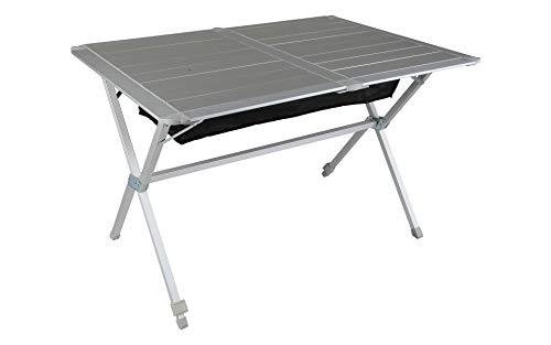 Berger Campingtisch mit rollbarer Tischplatte, Silber, Platte Aluminium, Tischfläche 115 x 78,5 cm